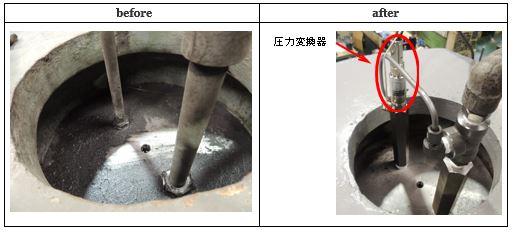 ①-2シリンダー上部に圧力変換器を設置および配管継ぎ手の敷設