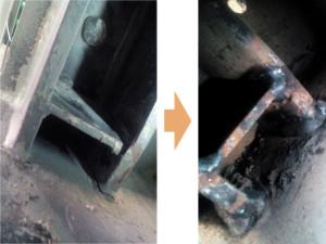 【溶接割れ】 過負荷により溶接割れを確認。 溶接部を再溶接し補強。