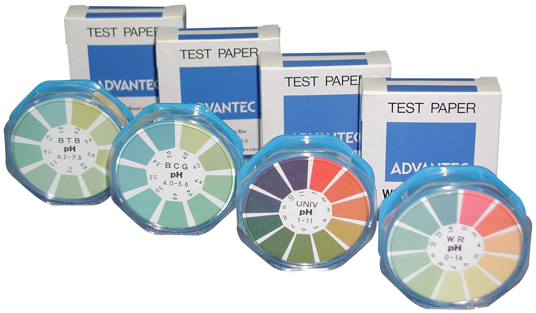 pH試験紙ロールタイプ A:0〜14pH全域 B:1〜11pH万能 C: D: